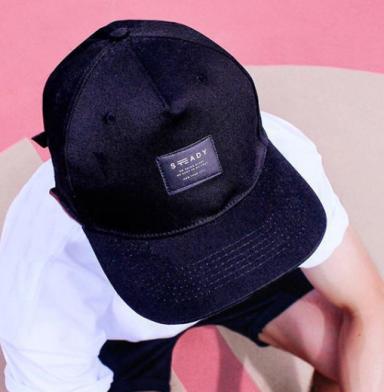 Satin Printed Label on Black 6 Panel Hat