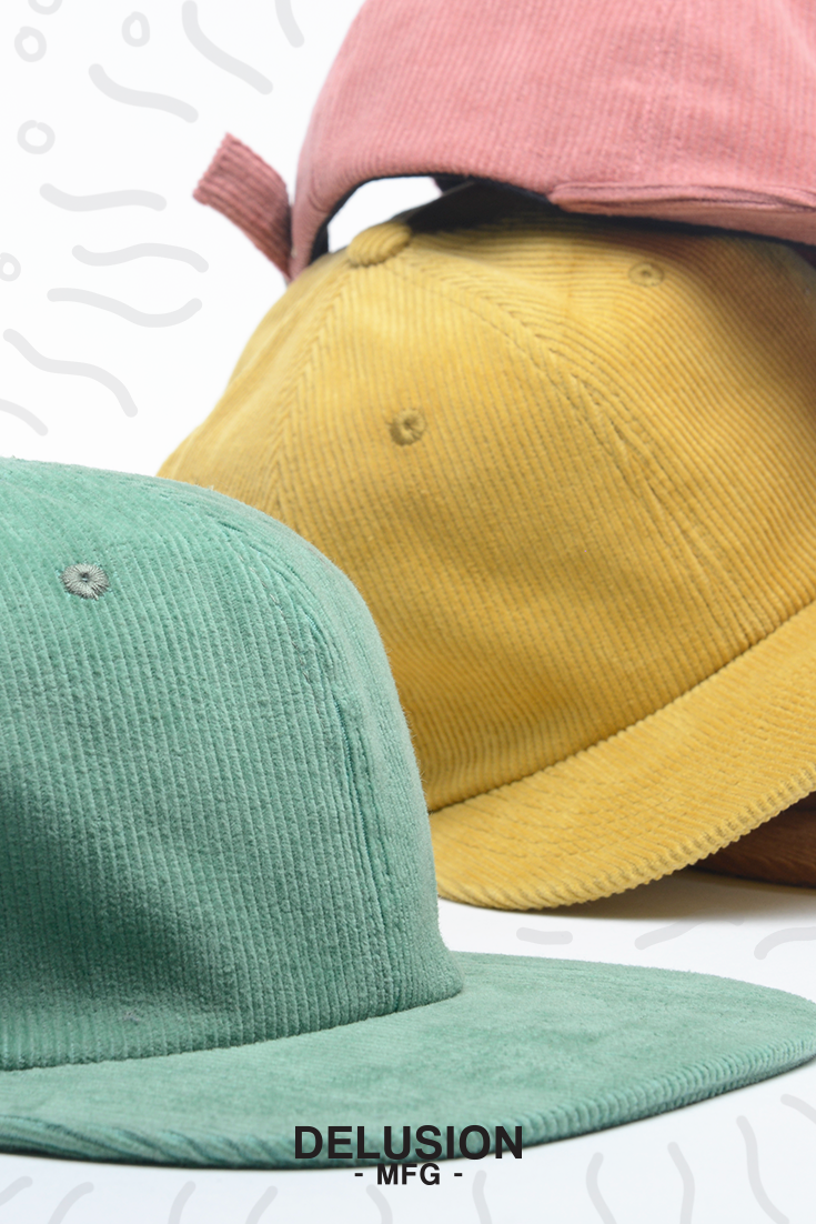 After the long wait, Delusion MFG now has corduroy hats available starting 1/22/19. Available in 8 new color ways: dijon, melon, black, navy, light grey, beige, mint, and rust. Made with durability and lightweight premium corduroy fabric. We've had a lot of interest in these hats even before production, with that said, make sure you grab 'em fast. These will sell out pretty fast.