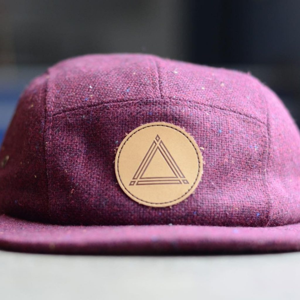 5 panel hat with premium leather patch
